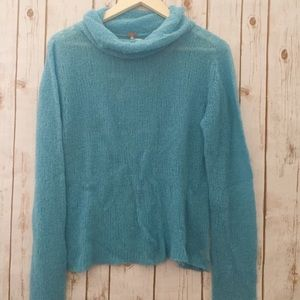 Free People knit turquoise turtleneck sweater